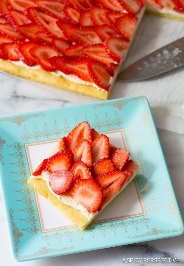Simple Strawberry Pizza - on ASpicyPerspective.com #strawberry #summer